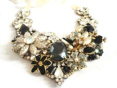 Swarovski chrystal  and vintage bib statement necklace in off white and black - gala or prom necklace - OOAKjewelz Couture Collection. €350.00, via Etsy.