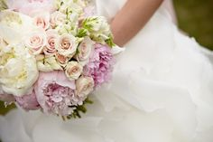 Bridal Bouquet - white and pink peonies, white sweet pea, garden roses, sahara roses, candy bianca roses, ivory spray roses, parrot tulips, and blushing bride