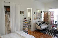 Girly Studio Apartment. like the closet door idea