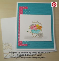 Thank you card created using the You're Sublime Stamp Set from Stampin' Up!  http://tracyelsom.stampinup.net