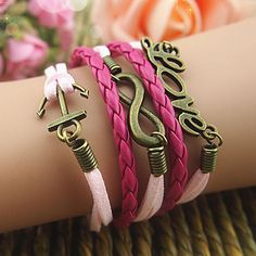 $17.79 Dresswe.com SUPPLIES Fashion Rosy Anchor Love Girl's Multilayer Leather Bracelet