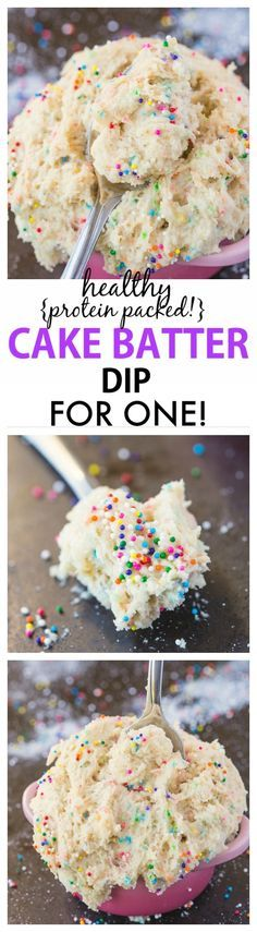 Healthy Cake Batter dip for ONE recipe Delicious, creamy and packed protein, it only takes 5 minutes to whip up! Sinfully nutritious and single serve! The perfect snack or healthy dessert! vegan, gl is part of Healthy cake - Dessert Oreo, Dessert Parfait, Dessert Dips, Dessert Recipes, Dirt Dessert, Snacks Recipes, Cookie Recipes, Healthy Cake, Healthy Sweets