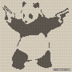 (Note: While commonly attributed to Banksy, this piece is allegedly by the artist Julien Fanton D'Andon.)    This cross stitch pattern uses 1 colors, has a stitch count of 2031, and dimensions of 90 x 90 stitches. It measures approximately:  5.0 x 5.0 on 18-ct.  5.7 x 5.7 on 16-ct.  6.5 x 6.5 on 14-ct.    You get a PDF document of the cross stitch pattern above. Youll need a PDF viewer to view it. If you dont have one installed, you can get Adobe Reader for FREE at http://www.adobe....