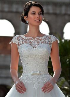 Magbridal Fantastic Tulle Jewel Neckline Natural Waistline A-line Wedding Dress With Lace Appliques & Belt & Bowknot dresses a line Beautiful Wedding Gowns, Luxury Wedding Dress, Wedding Dress Styles, Dream Wedding Dresses, Wedding Attire, Bridal Dresses, Ceremony Dresses, Ball Dresses, Ball Gowns