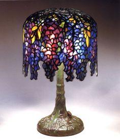 Tiffany Studios, Favrile Glass and Bronze Miniature Wisteria Lamp, 1899-1920