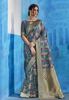 New Indian Traditional Ethnic Style Saree Grey Banarasi Silk Woven Sari Bridal Silk Saree, Saree Wedding, Banarsi Saree, Silk Sarees, Designer Sarees Wedding, Wedding Fabric, Wedding Art, Whatsapp Messenger, Sari Fabric