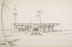 Never Built Los Angeles: Pierre Koenig, Hollywood Mosque, 1963, Getty Research Institute, Los Angeles