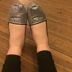 Silver sparkly flats Worn once pink & pepper Shoes Flats & Loafers
