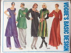 1970s boho chic caftan dress and tunic & pants Vogue 1543 Uncut vintage sewing pattern Bust 34 Waist 26.5 Hip 36 retro 70s bohemian hippie by 101VintagePatterns on Etsy