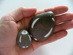 Large penguin - hand painted stone