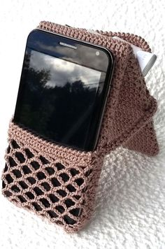 Crocheted phone holder for desk with pouch is nice gift for image 1 Crochet Shoes Pattern, Bag Crochet, Crochet Flower Patterns, Crochet Gifts, Desk Phone Holder, Iphone Holder, Iphone Stand, Mobiles En Crochet, Crochet Mobile