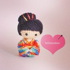 Elin Makes - Handmade Toys Amigurumi (Malaysia) Kawaii Crochet, Cute Crochet, Knit Crochet, Amigurumi Doll, Amigurumi Patterns, Crochet Patterns, Peyote Patterns, Knitted Dolls, Crochet Dolls