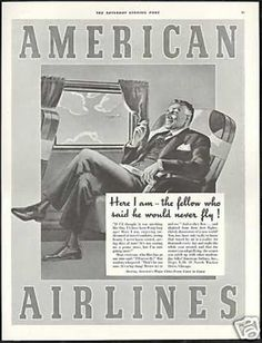 Remember when you could smoke on flights? 1939 american airlines ad. I remember when smoking inside an airplane was the norm.