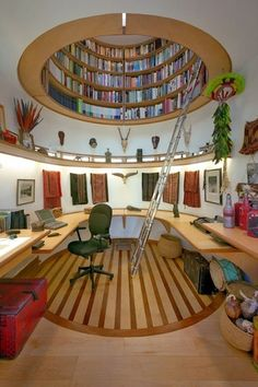 Eclectic Home Office with Edge lighting soft strip 1.4w 12v warm white 25', Custom Bookcase by Travis Price Architects