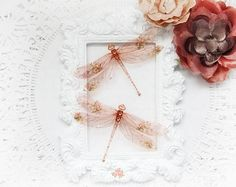 Translucent Rose Gold Dragonfly Embellishments for