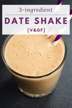 Refreshing, creamy and actually good for you, this vegan date shake is your ultimate sweet summer drink. Blend these three basic ingredients and enjoy a cool healthy milkshake in under 10 minutes. Vegan Smoothie Recipes, Smoothie Drinks, Vegan Recipes, Snack Recipes, Cooking Recipes, Drink Recipes, Snacks, Vegan Foods, Vegan Desserts