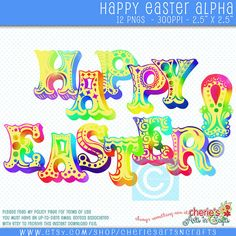 Happy Easter Watercolor Style Text Easter by CheriesArtsnCrafts (Art & Collectibles, Clip Art, Easter Alpha Clipart, Easter Graphics, Easter Clip Art, Carnival Style Alpha, Whimsical Alphas, PNG Alphas, Happy Easter Alpha, DDonEtsy, Digital Scrapbooking, Cute Clip Art, Watercolor Easter, Watercolor Alpha, Yellow Easter Alpha)