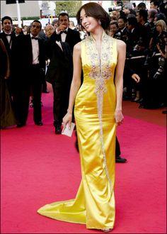 yellow qipao, cheongsam