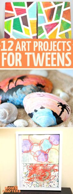 12 Art Projects for Tweens and Teens - you'll love these beautiful arts and crafts and process art activities for big kids and tweens! They are easy and quick to make. #craftsforkids #tweencraft #tween