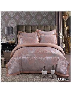 Hot sale Luxury bedding set 4pcs duvet cover quilt bed covers silk jacquard satin bedclothes sheets bed linen