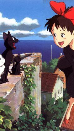 Amazing smartphone wallpaper from studio ghibli Art Studio Ghibli, Studio Ghibli Films, Hayao Miyazaki, Totoro, Kiki Delivery, Kiki's Delivery Service, Anime Kunst, Anime Art, Animation