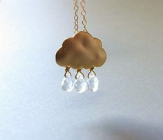 Cloud and Raindrop Necklace . gold cloud and teardrop crystals by CocoroJewelry on Etsy