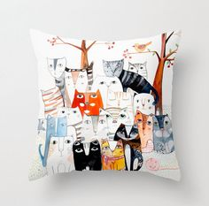 Check out this item in my Etsy shop https://www.etsy.com/listing/224245920/cat-family-pillow-throw-cover-printed