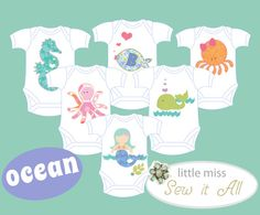 Under the Sea  DIY Applique Onesie Templates for a by SarahSaysSew, $13.50