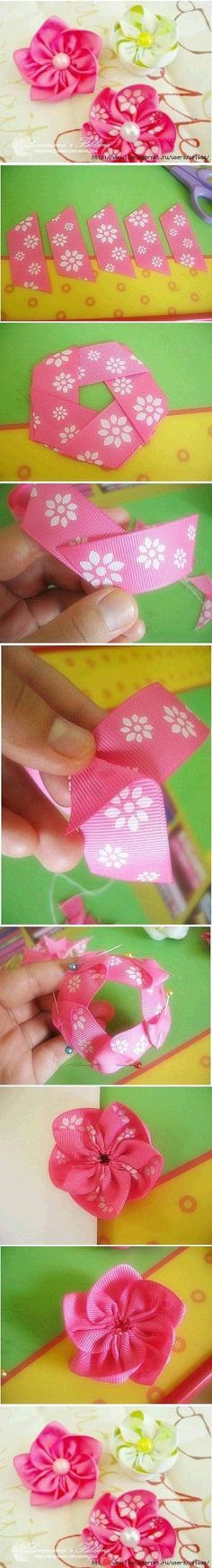 5 ribbon /( grosgrain etc.)strips pinned and sewn