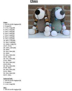 Chien – tutos tricot et crochet – - Amigurumi Free Patterns Crochet Animal Patterns, Stuffed Animal Patterns, Crochet Patterns Amigurumi, Crochet Animals, Crochet Dolls, Crochet Panda, Half Double Crochet, Single Crochet, Free Crochet