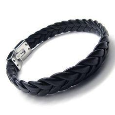 http://cheune.com/store KONOV Jewelry Men's Stainless Steel Leather Bracelet - Black Silver - 9 Inch