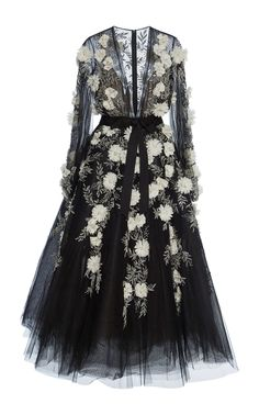Marchesa Embellished Tulle Gown In Black Beaded Evening Gowns, Long Sleeve Evening Dresses, Long Sleeve Gown, Dress Long, Beaded Gown, Tulle Gown, Ball Gown Dresses, Pretty Dresses, Beautiful Dresses