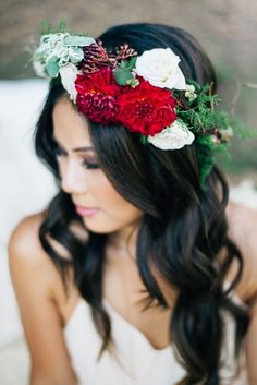 Red flower crown wedding hairstyle via Jenna Bechtholt Photography / http://www.deerpearlflowers.com/wedding-hairstyles-with-flower-crowns/2/