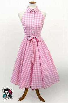 50s Housewife Dress, Gingham Dress, Pink Gingham, Pink Dress, Vichy Rose, Full Circle Skirts, Circle Skirt Outfits, Girl Fashion, Fashion Dresses