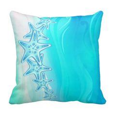 Aqua Blue Pillow Starfish
