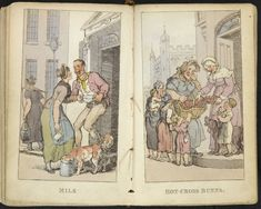 "English working women c. 1820. ""Milk"" and ""Hot Cross Buns"" from Characteristic Sketches of the Lower Orders by Thomas Rowlandson, The British Library. Click through to source for details."