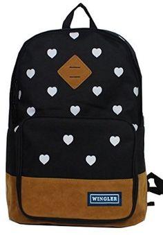 ed431797f6b1 Wingler Fashion Colorful Cartoon Heart Unisex Canvas Shoulder Bag Handbag  School Bag Backpack - A5 (black)