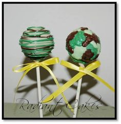 camo cake pops, for birthday parties where the child is a camo belt (or any other color belt but, this is pretty cool)