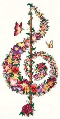 music treble clef butterfly pattern