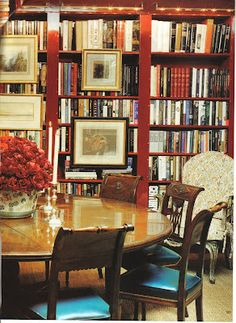 Library and Dining room combo is lovely