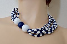 Vintage collar Blue and white-19 multistrand by mytimevintage