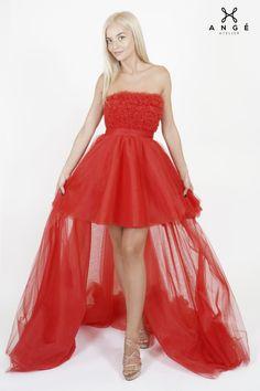 Rochie Rosie Lunga Majorat Trena Tulle Printesa AngeAtelier Corset, High Low, Womens Fashion, Model, Dresses, Tulle, Vestidos, Bustiers