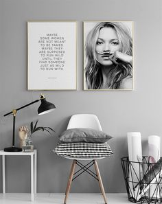 Kate Moss, Life is a Joke, Poster - Gray Wall Paint - White, Black, Gray Post . - Decorating Ideas- Kate Moss life is a joke poster gray wall paint white black gray post Gray Painted Walls, Grey Walls, Kate Moss, Room Inspiration, Interior Inspiration, Bedroom Decor, Wall Decor, Wall Art, Bedroom Ideas