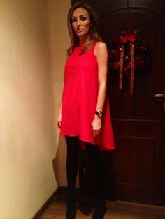 christmas dinner dress red + korale perły długie