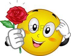 Mascot Illustration von einem verlegenen Smiley mit einer roten Rose photo
