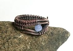 The minimalist design of this handmade Copper Wire Wrapped Ring really lets the textures of the wire shine. Wire Jewelry Rings, Wire Jewelry Designs, Metal Jewelry, Diamond Jewelry, Beaded Rings, Wire Earrings, Gold Jewellery, Jewlery, Silver Jewelry