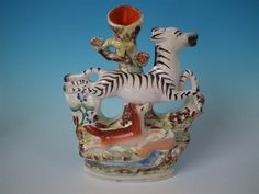 Staffordshire leaping zebra & fox spill vase in Pottery, Porcelain & Glass, Pottery, Staffordshire | eBay