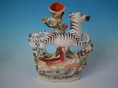 Staffordshire leaping zebra & fox spill vase in Pottery, Porcelain & Glass, Pottery, Staffordshire   eBay