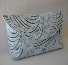 Clutch / Makeup Bag / Pouch in Blue swirl by jazzygeminis on Etsy, $10.00