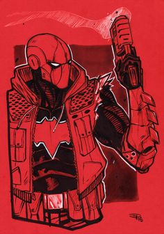 Red Hood in red illustrator unknown Jason Todd Robin, Red Hood Jason Todd, Dc Comics, Nightwing, Batman Red Hood, Black Batman, Poison Ivy Batman, Bat Boys, Marvel E Dc